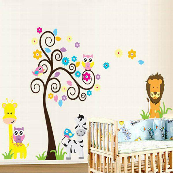 Home Decoration A Set of PVC Animal and Tree Pattern Decorative Wall Stickers - COLORMIX