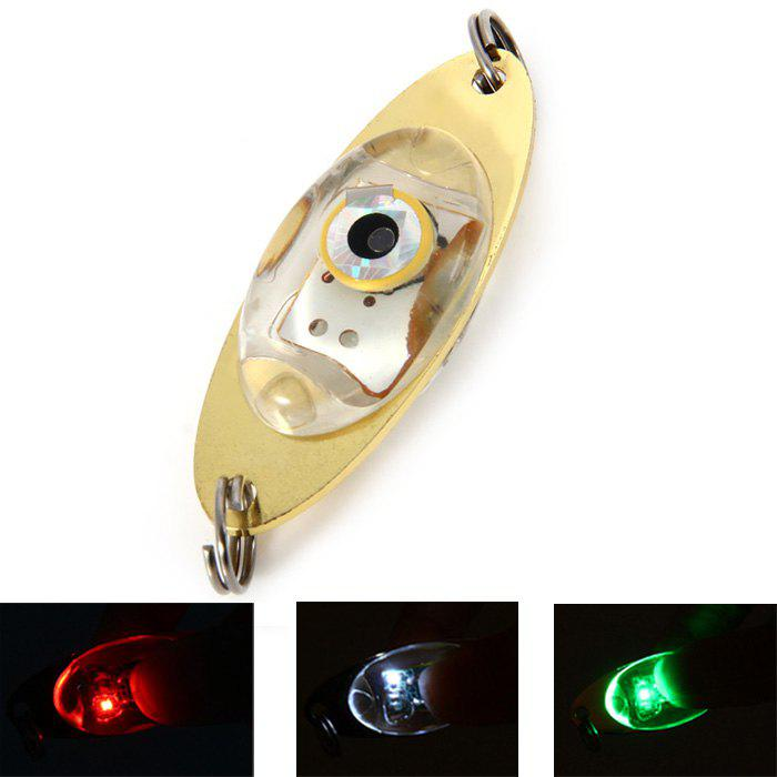 LED Lure Enhancer Flashing Light ( with Green Red White 3 Colors ) + 2 Stainless Steel Rings - GOLDEN