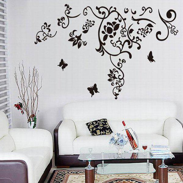 Home Decoration Simple A Set of PVC Butterfly and Floral Pattern Decorative Wall Stickers - BLACK