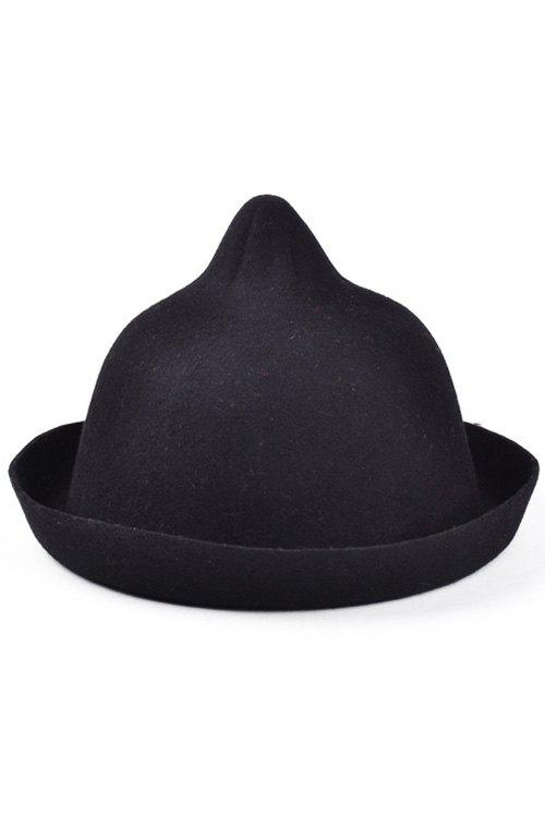 Chic Bellying Top Flanging Felt Hat For Women - BLACK