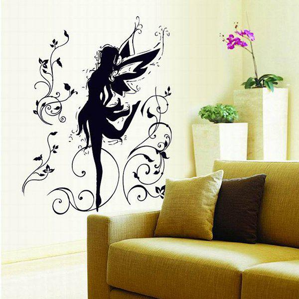 Home Decoration A Set of PVC Cartoon Pixy Pattern Decorative Wall Stickers - BLACK