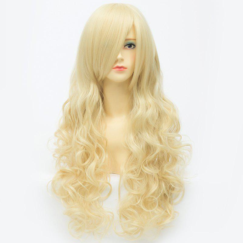 Trendy Anime Extra Long Synthetic Charming Capless Inclined Bang Shaggy Wavy Cosplay Wig - LIGHT GOLD