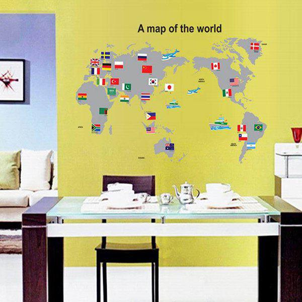 Home Decoration A Set of PVC World Map Pattern Decorative Wall Stickers - COLORMIX