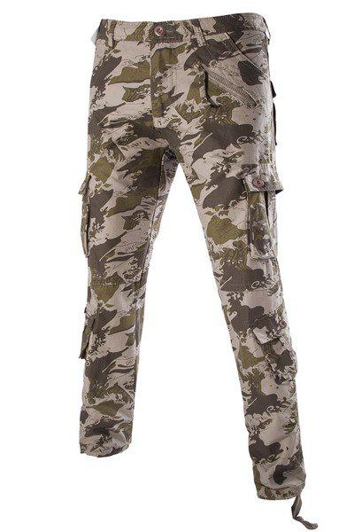 Straight Leg Camo Pattern Cargo Pants