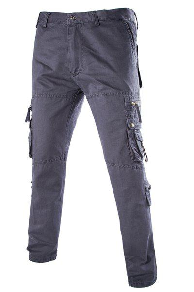 Stylish Loose Fit Multi-Pocket Zipper Design Straight Leg Cotton Blend Cargo Pants For Men - DEEP GRAY 38