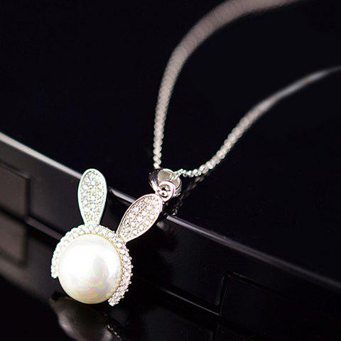 Cute Faux Pearl Rhinestone Bunny Pendant Necklace For Women - SILVER WHITE
