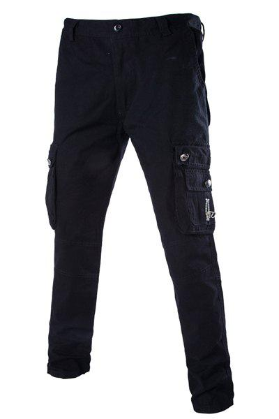 Fashion Slimming Stereo Pocket Zipper Design Straight Leg Cotton Blend Cargo Pants For Men - BLACK 32