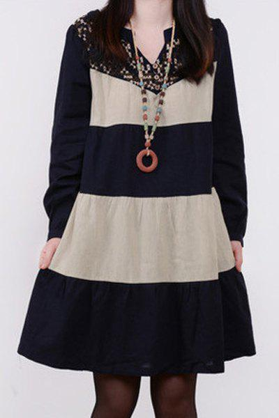 Loose-Fitting V-Neck Long Sleeves Embroidery Color Block Dress For Women - CADETBLUE M
