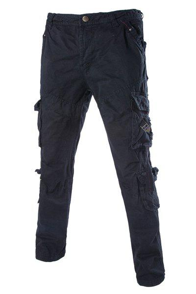 Trendy Loose Fit Multi-Pocket Hasp Design Straight Leg Cotton Blend Cargo Pants For Men - BLACK 30