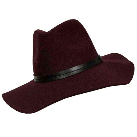 Chic PU Strappy Embellished Solid Color Women's Felt Hat - WINE RED