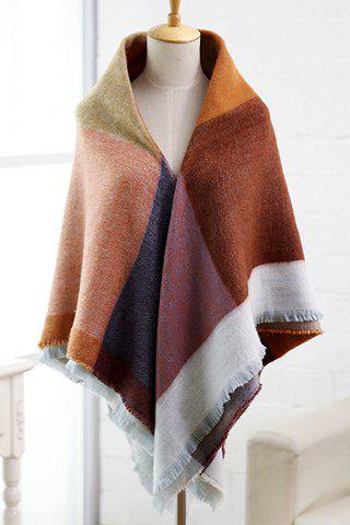 Chic Big Plaid Pattern Fringed Edge Pashmina For Women - BROWN