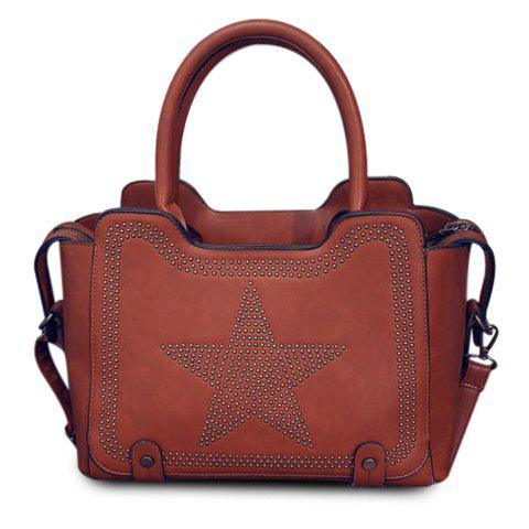 Stylish Star and Rivets Design Tote Bag For Women - LIGHT BROWN