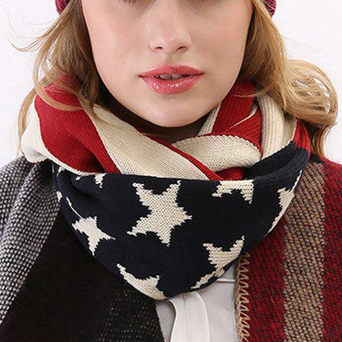 Chic Star and Stripe Pattern Women's Knitted Scarf - BLACK