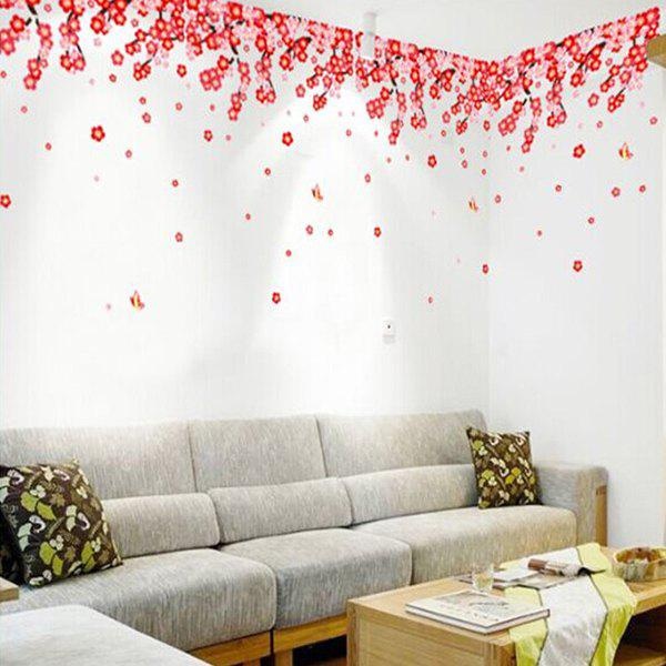 A Piece of Chic Home Decoration PVC Peach Flower Pattern Decorative Wall Sticker - COLORMIX