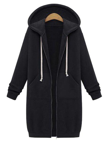 Casual Style Long Sleeve Hooded Zip Design Solid Color Women's Hoodie - BLACK XL