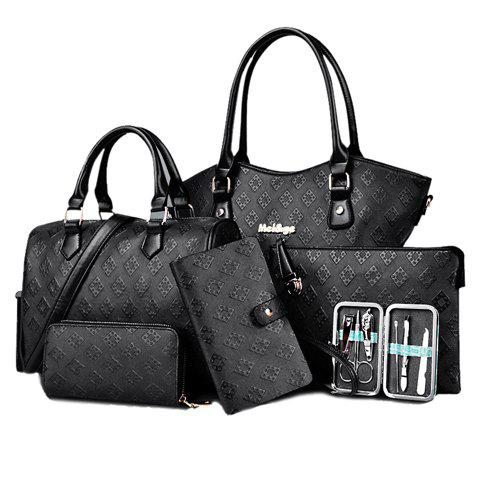 Stylish Zipper and Embossing Design Tote Bag For Women - BLACK