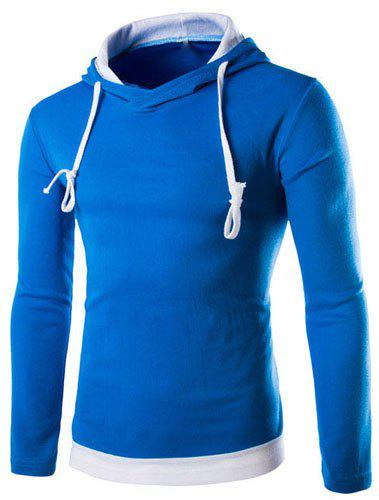 Slimming Stylish Hooded Simple Color Block Splicing Long Sleeve Men's Cotton Blend Hoodie - WATER BLUE M