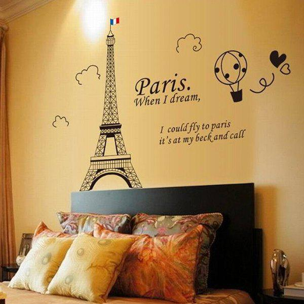 A Set of Home Decoration PVC Eiffel Tower Pattern Decorative Wall Stickers - BLACK
