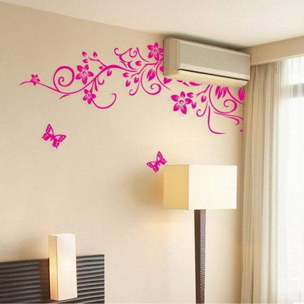 A Set of Simple Chic Home Decoration PVC Floral Pattern Decorative Wall Stickers - PINK
