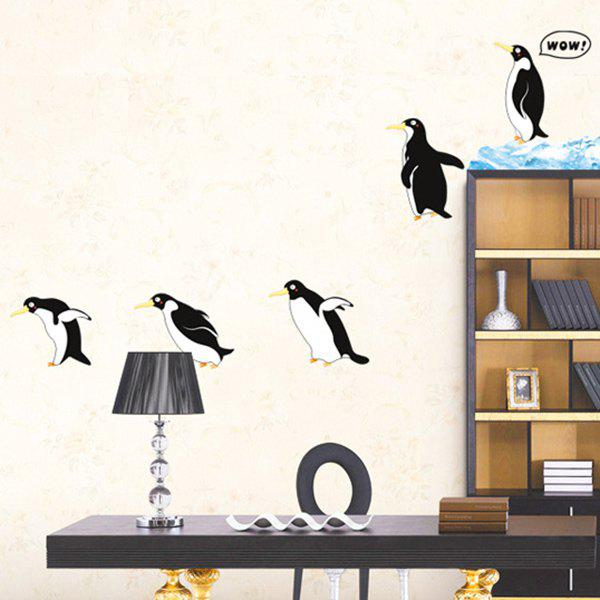 A Set of Sweet Chic Home Decoration PVC Penguin Pattern Decorative Wall Stickers - WHITE/BLACK