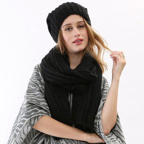 Chic Women's Simple Black Knitted Scarf and Hat - BLACK