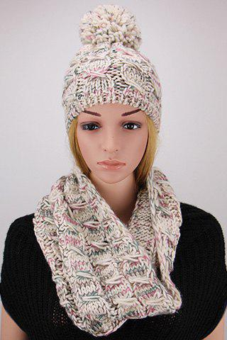Chic Woolen Yarn Ball Embellished Women's Coarser Knit Beanie and Scarf - WHITE