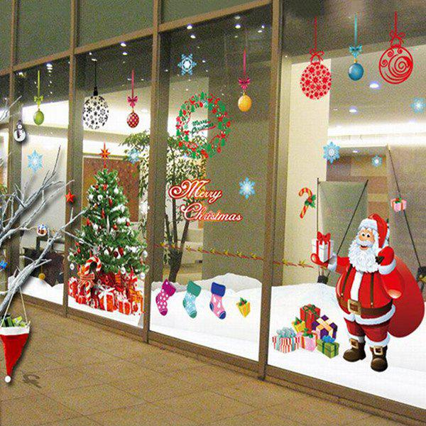 Simple Chic Home Decoration PVC Father Christmas Pattern Decorative Wall Stickers
