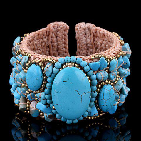 Classic Turquoise Beads Weaved Wax Cord Cuff Bracelet For Women