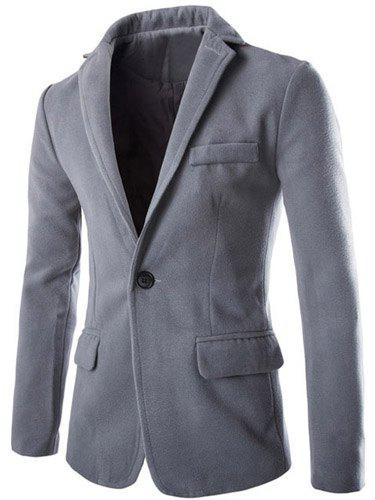 Slimming Modish Lapel One Button Multi-Pocket Long Sleeve Men's Woolen Blend Blazer - LIGHT GRAY 2XL