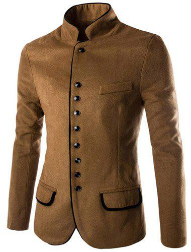 Slimming Stylish Stand Collar Single Breasted Color Block Edging Long Sleeve Men's Woolen Blend Blazer - CAMEL M