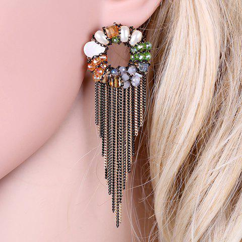 Pair of Classic Faux Crystal Flower Chain Tassel Earrings For Women - COLORMIX
