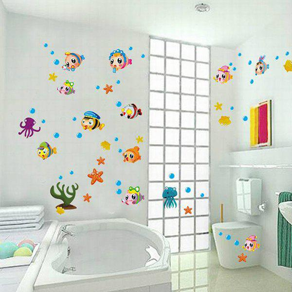 Colored Cartoon Fish Pattern Home Decoration PVC Decorative Wall Stickers - COLORMIX