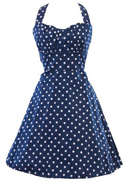 Vintage Polka Dot Print Halter Sleeveless Dress For Women - PURPLISH BLUE M