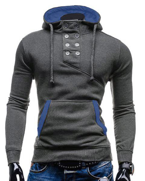 Slimming Hooded Stylish Double Breasted Pocket Hemming Long Sleeve Cotton Blend Men's Hoodie - GRAY XL