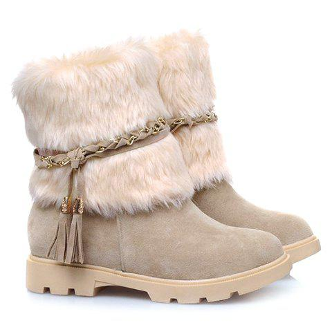 Faux Fur Tassels Ankle Boots - APRICOT 36