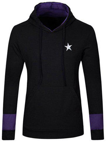 Stylish Slimming Hooded Five-Point Star Embroidery Long Sleeve Cotton Blend Hoodie For Men - BLACK L