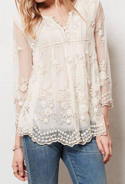 Chic See-Through Round Neck Flower Embroidery Long Sleeve Blouse For Women - OFF WHITE XL