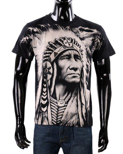 Loose Fit Fashion Round Neck 3D Indian Pattern Short Sleeve Men's Cotton Blend T-Shirt
