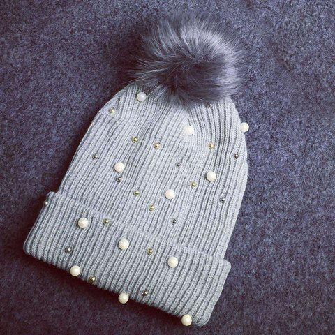 Chic Faux Pearl Bead Small Ball Embellished Knitted Beanie For Women