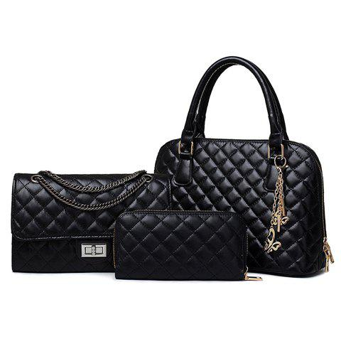 Stylish Checked and Chains Design Tote Bag For Women - BLACK