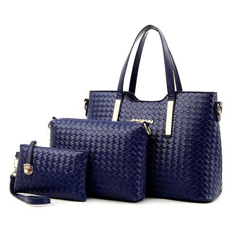 3Pc Woven Tote Crossbody Clutch Set - BLUE