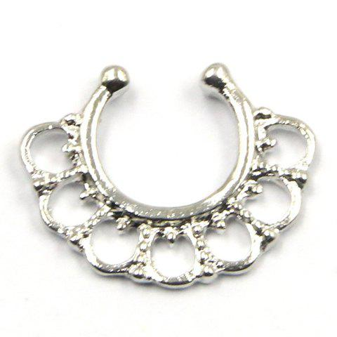 Exquisite Solid Color U-Shaped Fake Septum Nose Ring For Women - SILVER