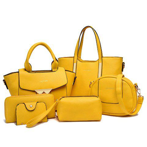 Letter Tote Handbag 6Pc Set - YELLOW