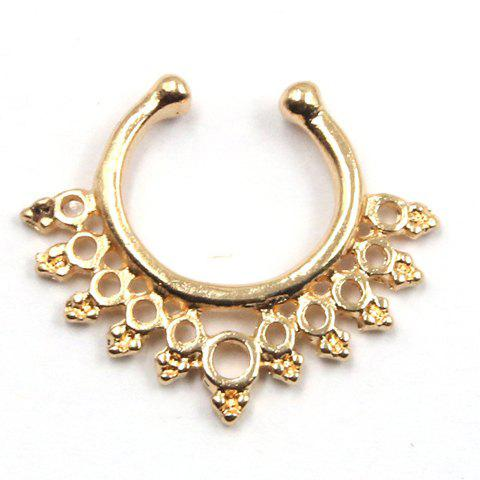 Delicate Solid Color Hollow Out Round U-Shaped Fake Septum Nose Ring For Women