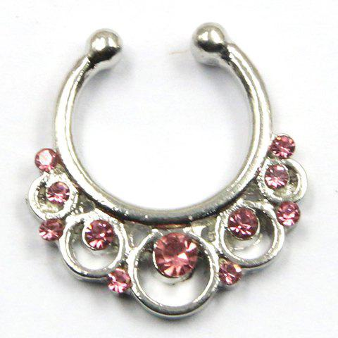 Chic Rhinestone Hollow Out Round Fake Septum Nose Ring For Women