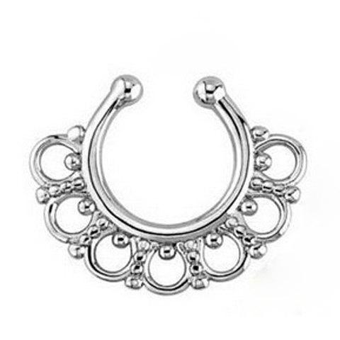Stylish Solid Color U-Shape Hollow Out Fake Septum Nose Ring For Women