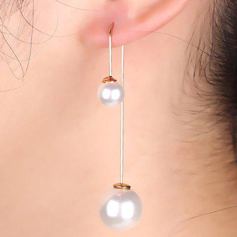 Pair of Round Faux Pearl Earrings - WHITE