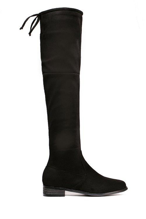 Concise Lace-Up and Zipper Design Women's Over The Knee Boots - BLACK 39