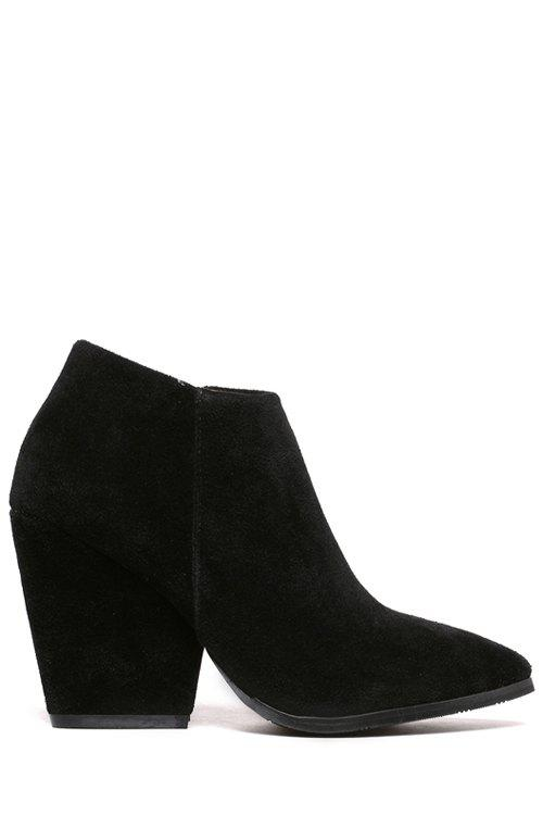 Laconic Pointed Toe and Suede Design Women's Ankle Boots - BLACK 39