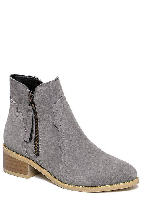 Retro Style Tassel and Suede Design Women's Ankle Boots - GRAY 39